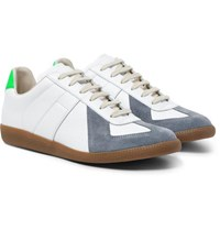 Maison Martin Margiela Replica Leather And Suede Sneakers White