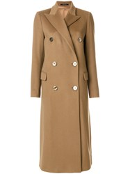 Tagliatore Double Breasted Long Coat Women Cupro Cashmere 40 Brown