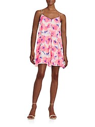 Saks Fifth Avenue Red Floral Print Slip Dress Bright Pink