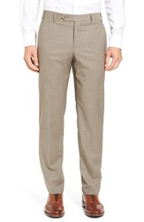Zanella Men's Flat Front Stripe Wool Trousers