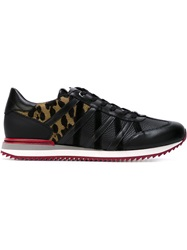 Dolce And Gabbana Leopard Print Panelled Sneakers Black