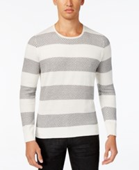 Inc International Concepts Men's Snakeskin Pattern Striped Sweater Only At Macy's Vintage White
