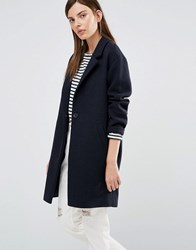 Selected Misto Ovoid Coat In Jersey Mix Navy