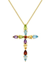 Macy's Multi Stone Cross Pendant Necklace In 14K Gold 2 2 3 Ct. T.W.