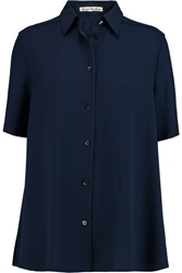 Acne Studios Lou Draped Crepe Shirt Blue
