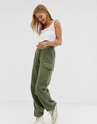 Pull And Bear Utility Jogger In Green Green