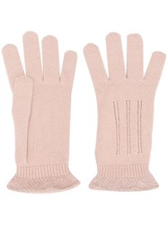 Cruciani Knitted Gloves Pink And Purple