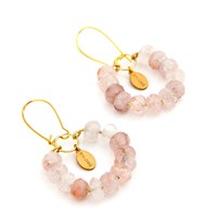 Salome Tribal Collection Rose Quartz Earrings Gold Pink Purple
