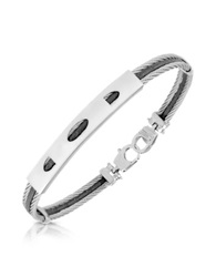 Forzieri Stainless Steel Bracelet With Rectangular Plaque Silver