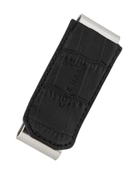 Cole Haan Double Money Clip W Croc Embossed Trim Black
