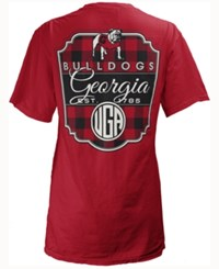 Royce Apparel Inc Women's Georgia Bulldogs Buffalo Plaid Big T Shirt Red