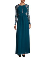 Bcbgmaxazria Lace Long Sleeve Gown Dark Teal