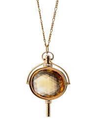 Monica Rich Kosann Pocket Watch Key Honey Quartz Oval Necklace Unassigned