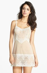 Women's Wacoal 'Embrace' Lace And Mesh Chemise Naturally Nude Ivory