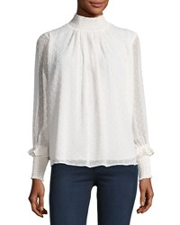 Romeo And Juliet Couture Mock Neck Swiss Dot Blouse Ivory