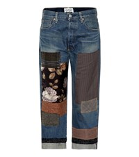 Junya Watanabe Patchwork Cropped Jeans Blue
