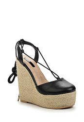 Lost Ink Cory Jute Wedge Closed Toe Espadrilles Black
