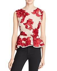 Gracia Floral Lace Mesh Peplum Top Compare At 97 Burgundy