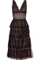 Catherine Deane Woman Katiana Tiered Swiss Dot Tulle And Lace Midi Dress Black