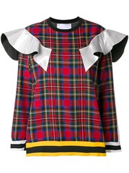No Ka' Oi Ruffle Trim Plaid Sweatshirt White