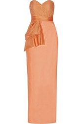 Mikael Aghal Bow Embellished Silk Chiffon Gown Orange