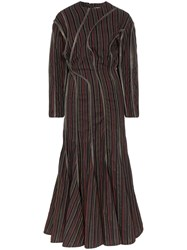 Y Project Leather Piping Striped Maxi Dress Green