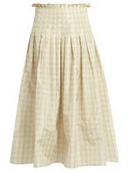 Valentino Pleated Silk Taffeta Gingham Midi Skirt Green Multi