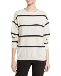 Brunello Cucinelli Monili Stripe Cashmere Sweater Beige