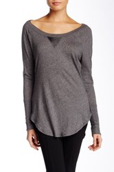 Bobi V Inset Long Sleeve Tunic Gray