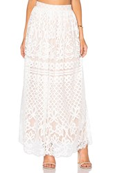 Lucy Paris Lace Maxi Skirt White
