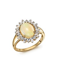 Bloomingdale's Opal Oval Statement Ring With Diamond Halo In 14K Yellow Gold