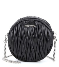 Miu Miu Matelasse Leather Shoulder Bag Black