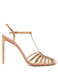 Francesco Russo Caged T Bar Metallic Leather Sandals Bronze