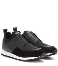 Tod's Sportivo Suede Leather And Fabric Sneakers Black