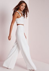 Missguided Tall Premium Crepe Wide Leg Trousers White
