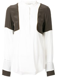 Antonia Zander Panelled Blouse Silk S Nude Neutrals