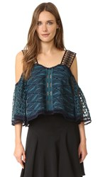Jonathan Simkhai Mixed Embroidered Top Teal Navy