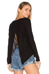 Chaser Open Cross Back Long Sleeve Tee Black