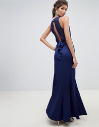 Little Mistress Lace Overlay Bodice 2 In 1 Sheath Maxi Dress With Exposed Back. Navy