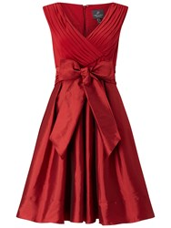 Adrianna Papell Draped Top Fit And Flare Chili Pepper