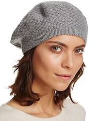 Bloomingdale's C By Waffle Knit Cashmere Beret Pale Gray