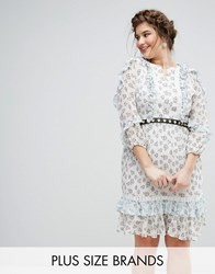 Truly You Ruffle Hem Skater Dress With Metal Belt In Ditsy Floral Multi