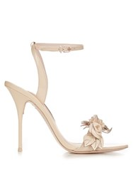 Sophia Webster Lilico Flower Embellished Patent Leather Sandals Nude