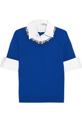 Mary Katrantzou Ella Embellished Cotton Poplin Trimmed Merino Wool Sweater Bright Blue