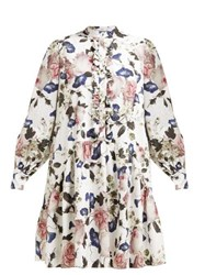 Erdem Quentin Apsley Floral Print Ruffled Dress White Print