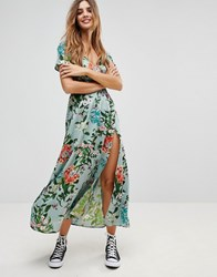 Rock And Religion Floral Wrap Maxi Dress Lt Green Large Flora