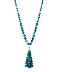 Lydell Nyc Golden Beaded Bubble Tassel Necklace Green