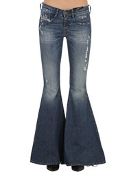 Diesel Piercing Detail Destroyed Flared Jeans Blue