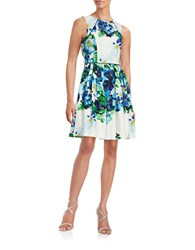 Vince Camuto Fit And Flare Floral Dress Blue Ivory
