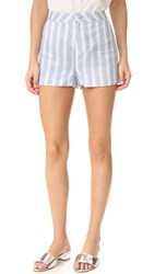 Cupcakes And Cashmere Brinley Stripe Linen Shorts Bleached Blue